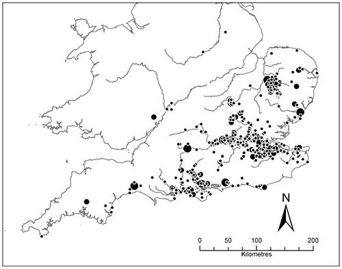 location of Acheulean hand axe finds in southern Britain